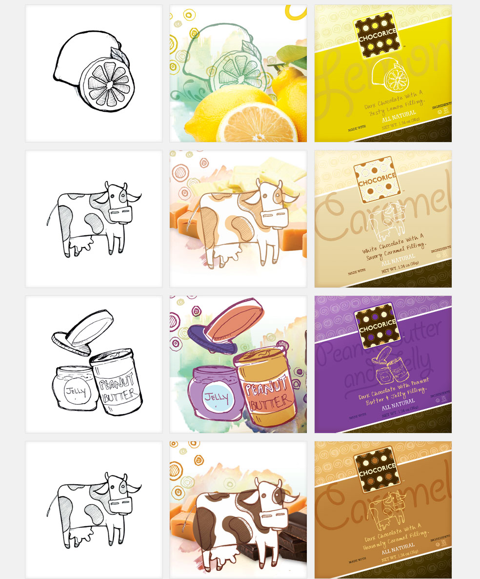 Custom Illustrations for Chocorice Flavors