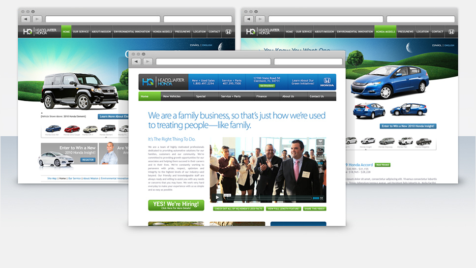 Headquarter Honda Screen Details