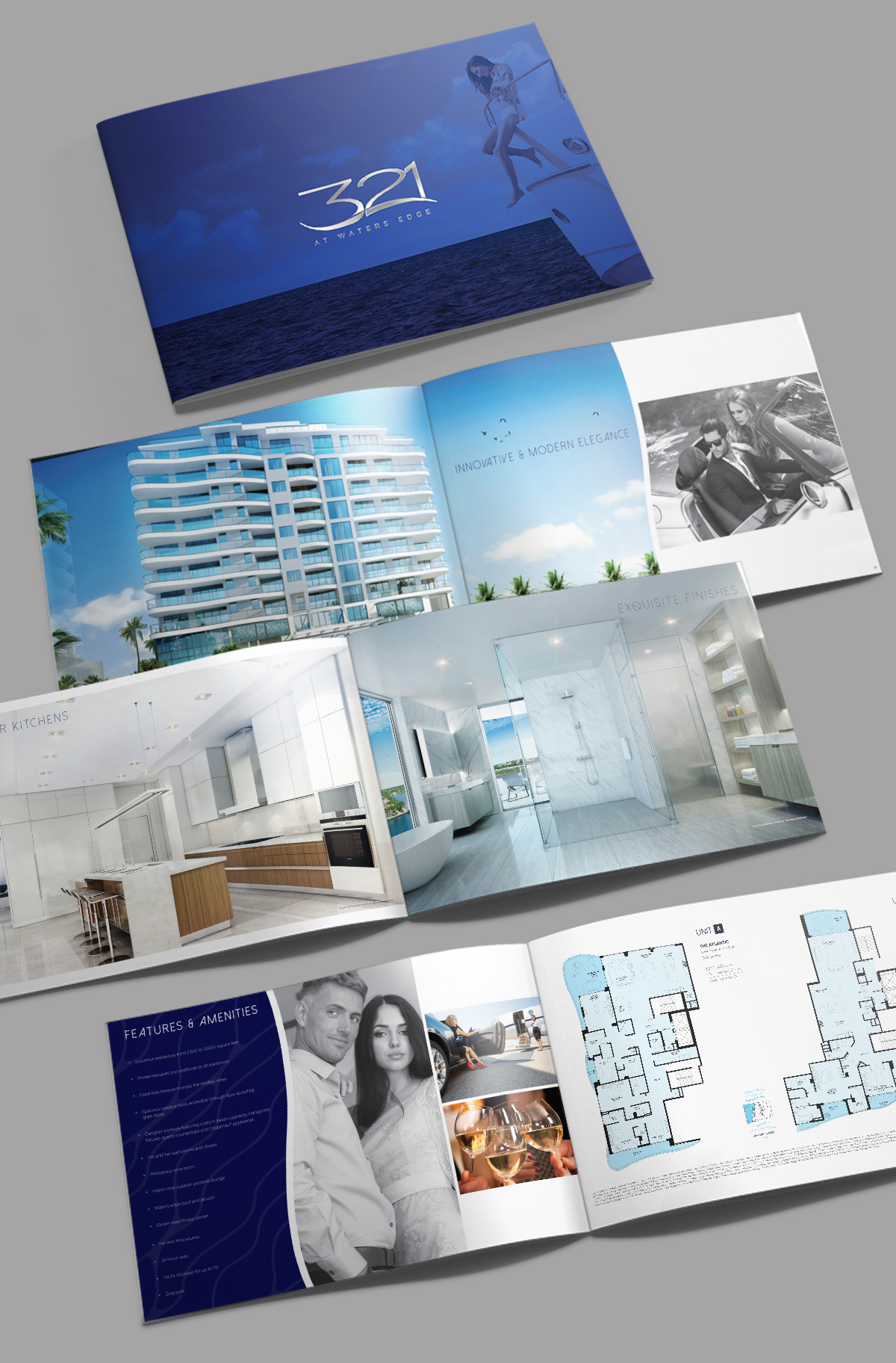 32-Page Brochure Design: Showcasing the building, homes and waterfront lifestyle